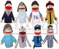 Get Ready Kids 8 Caucasian Community Helper Puppets and Script
