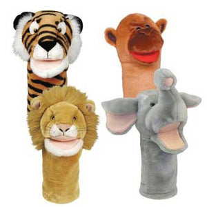 Get Ready Kids 206790 Set of 4 Zoo Animal Hand Puppets