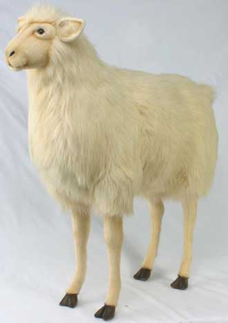 Hansa 3660 Life Size Sheep Ride-On Plush Stuffed Animal - Bone Color