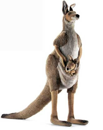 Hansa 3235 Life-Size Kangaroo and Joey Plush Stuffed Animal