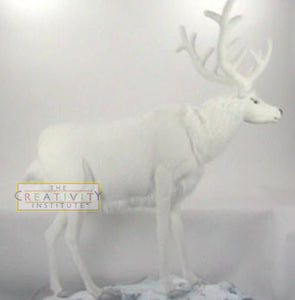 Hansa 0297 Mechanical White Reindeer Plush Stuffed Animal
