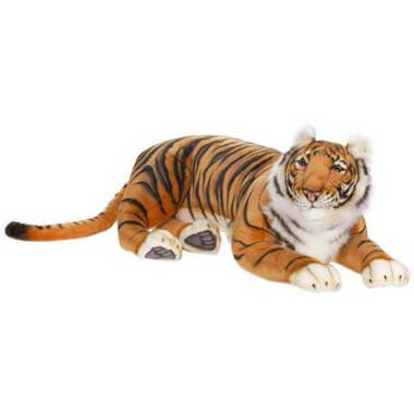 Hansa 3947 Adult Bengal Tiger Lying Plush Stuffed Animal