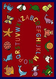 "Joy Carpets ABC Animals 5'4"" X 7'8"" Area Rug - Red - The Creativity Institute"