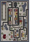 "Joy Carpets Tiny Town 7'8"" x 10'9"" Area Rug - Pewter"