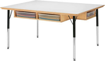 Jonti-Craft 55233JC Tall Table with Storage - for 6 - with Colored Paper Trays - The Creativity Institute