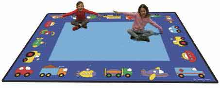 "Learning Carpets 5'10"" x 8'5"" Vehicles Rug - CPR798"