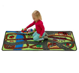 "Learning Carpets Lets Hop On The Train Rug - 27"" x 60"" - LC965 - The Creativity Institute"