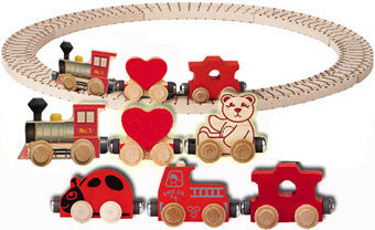 The 6-Car Valentine Train Wooden NameTrain Set