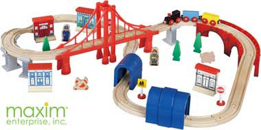 Maxim Enterprise 50040-DS 60-piece Wooden Train Set