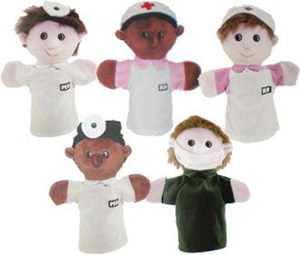 Get Ready Kids PlushPups Set of Five Medical Staff People Puppets
