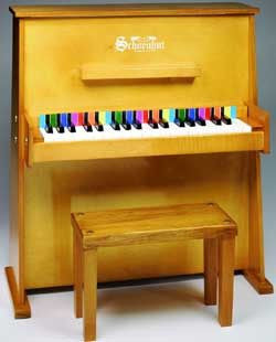 Schoenhut 3798O 37-Key Daycare Durable Toy Piano and Bench - Oak - 3798O