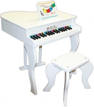 Schoenhut 372W 37-Key Elite Baby Grand Toy Piano - WHITE