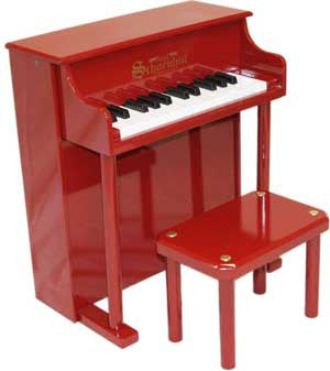 Schoenhut 6625R 25-Key Traditional Spinet Toy Piano - Red