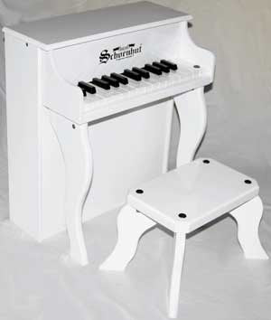Schoenhut 2505W 25-Key Elite Spinet Toy Piano Includes Bench - White