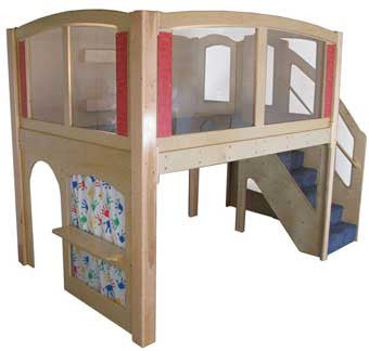 "Strictly for Kids Mainstream Explorer 25 Preschool Wave Loft with Recessed Steps on Right, Blue Carpet 11' wide x 6'6'' deep x 94'' high, 52"" Platform"
