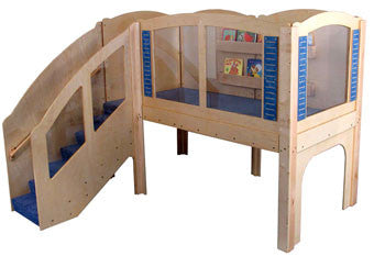 Strictly for Kids Mainstream Older Toddler Explorer 2 Wave Loft, Steps on Left. 98.5''w x 97''d x 84''h overall