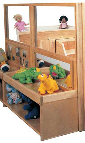 Strictly for Kids Deluxe Room Divider - 18''h Storage and Mirror - SK3207