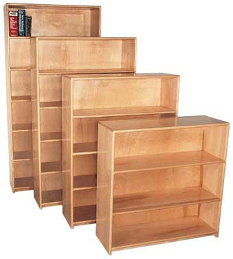 Strictly for Kids Deluxe Maple Bookcase, 36''w x 12''d x 72''h, 5 shelves (3rd unit in photo)