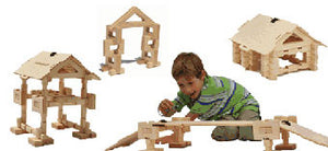 Timberworks Toys Small House/Bridge Set Wooden Construction Set