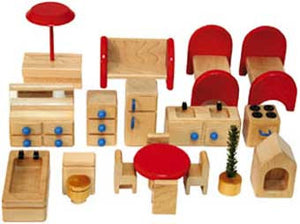 TAG Toys P6A 18-Piece Wooden Dollhouse Furniture Set - The Creativity Institute