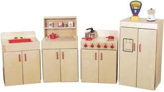 Wood Designs Classic Kitchen Appliances with Deluxe Hutch Set - 10002 - The Creativity Institute