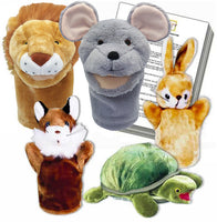 Aesop's Fables Set of Five Animal Puppets with Puppet Show Scripts