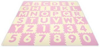 Alessco 1310BPIY SoftBaby 6'6 x 6'6 Baby Pink & Ivory ABC & 123 SoftFloors - The Creativity Institute