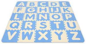 Alessco 1319BBIY SoftBaby 5' x 5' Baby Blue & Ivory ABC & 123 SoftFloors - The Creativity Institute