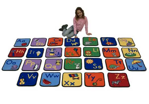 Learning Carpets Alphabet Seating Squares with Images - Set of 26 - X