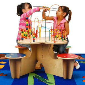 Anatex FTC0567 Fleur Rollercoaster Table with 4 Attached Seats
