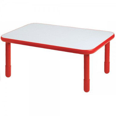 "Angeles 30"" x 72"" BaseLine Rectangle Table 18"" Legs - Candy Apple Red"