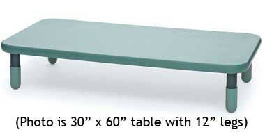 "Angeles 30"" x 60"" BaseLine Rectangle Table 12"" Legs - Teal"