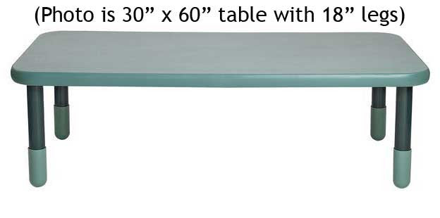"Angeles 30"" x 72"" BaseLine Rectangle Table 16"" Legs - Teal"