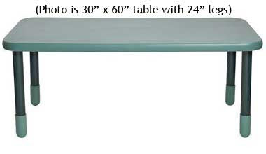 "Angeles 30"" x 60"" BaseLine Rectangle Table 22"" Legs - Teal"