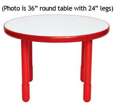 "Angeles BaseLine 36"" Round Diameter Table 22"" Legs - Candy Apple Red - The Creativity Institute"