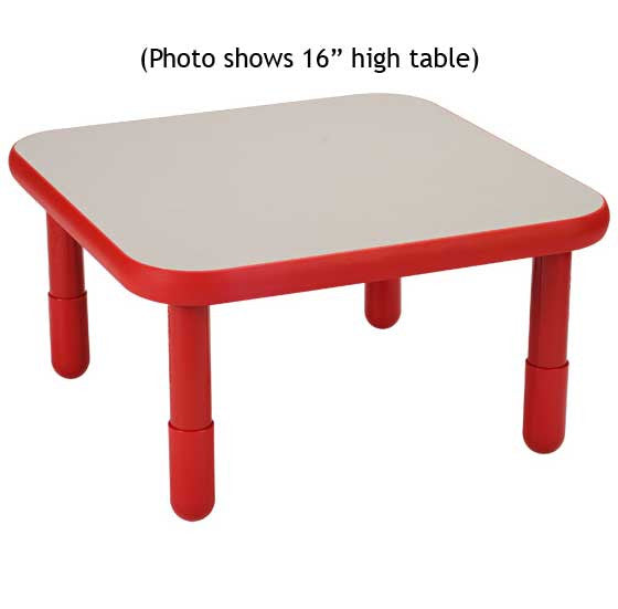 "Angeles 30"" Square BaseLine Table 18"" Legs - Candy Apple Red"