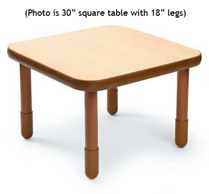 "Angeles 30"" Square BaseLine Table 18"" Legs - Natural"