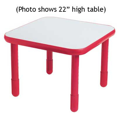 "Angeles 30"" Square BaseLine Table 22"" Legs - Candy Apple Red"