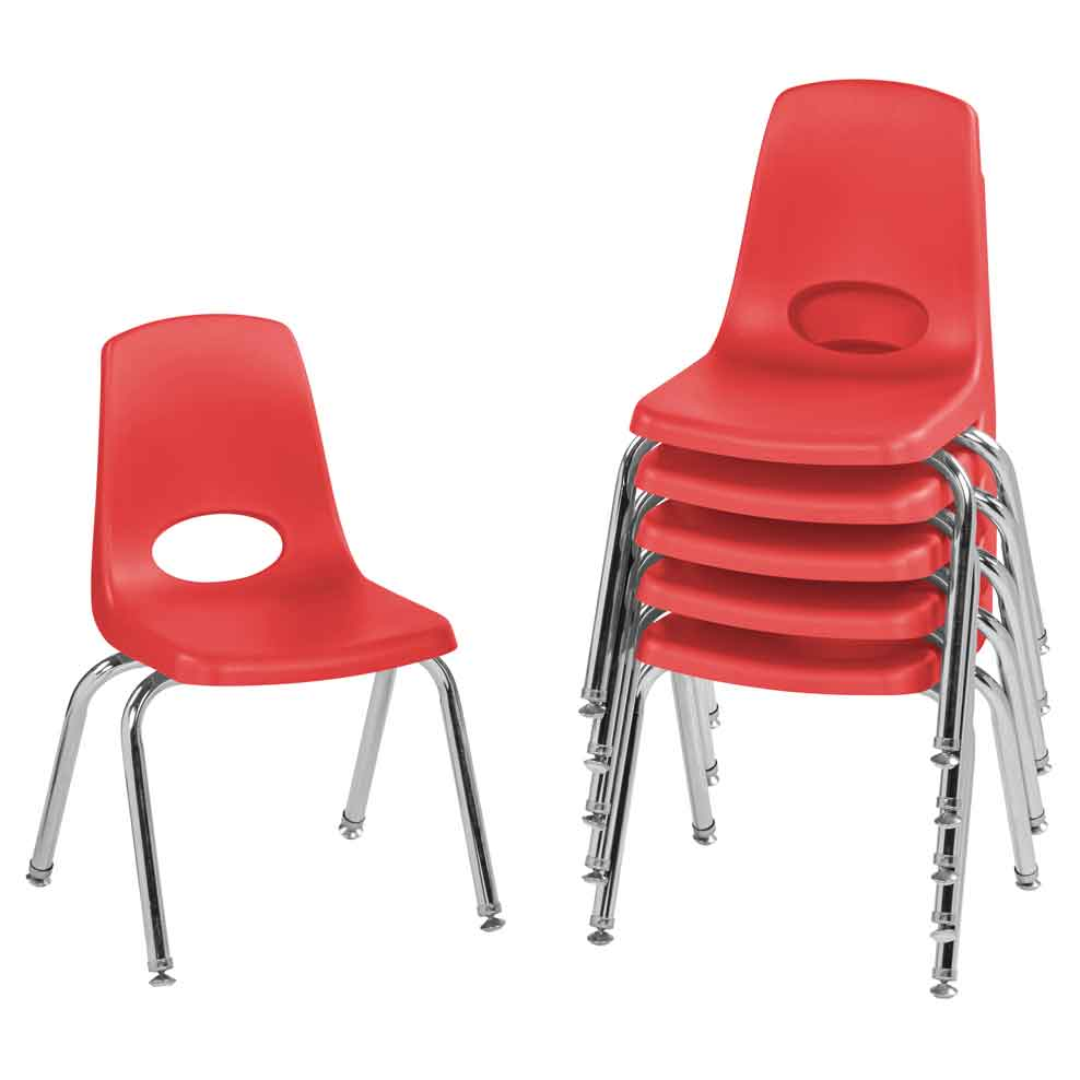 FDP 14 in. Stack Chair Swivel Glide, 6-Pack - Red