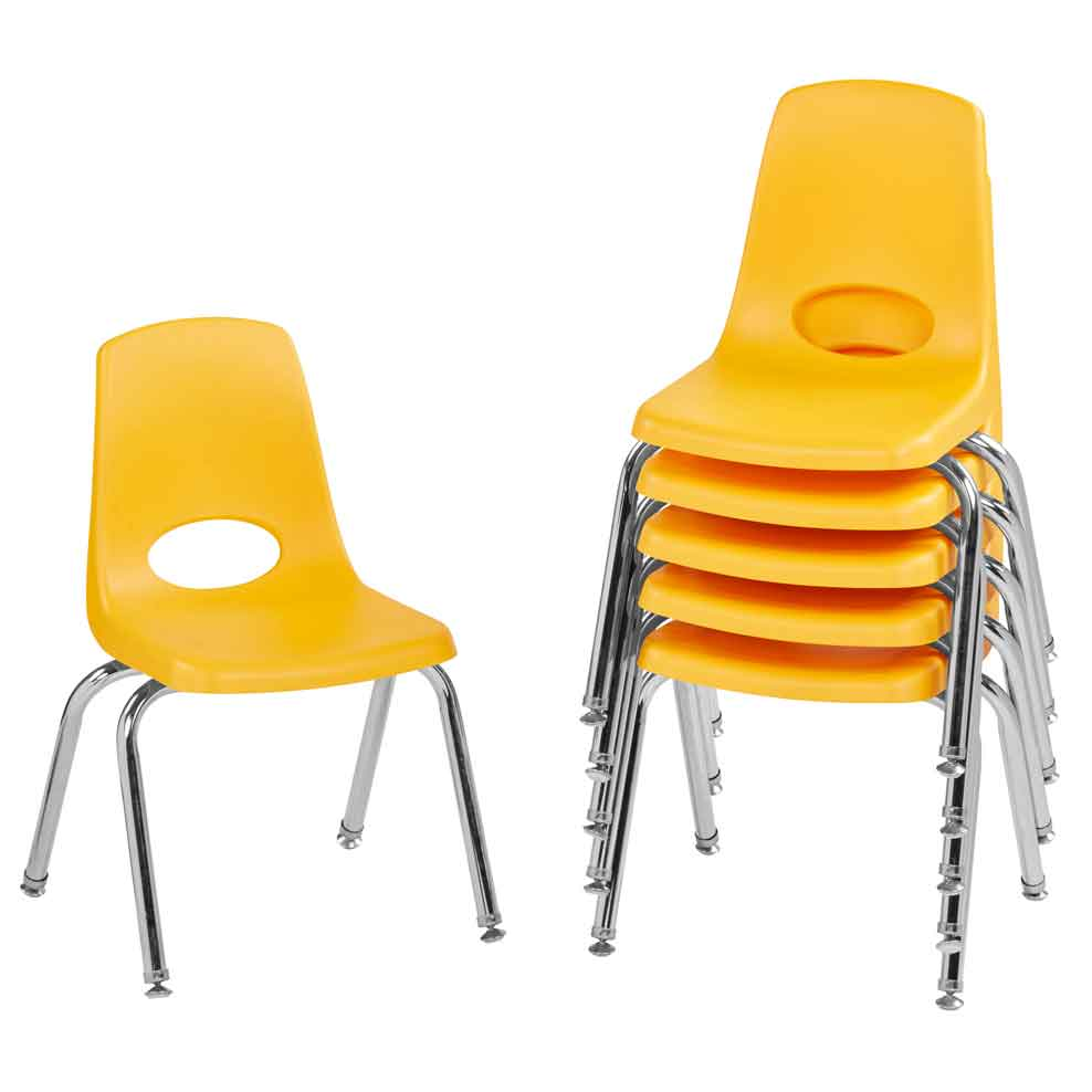 FDP 14 in. Stack Chair Swivel Glide, 6-Pack - Yellow - The Creativity Institute