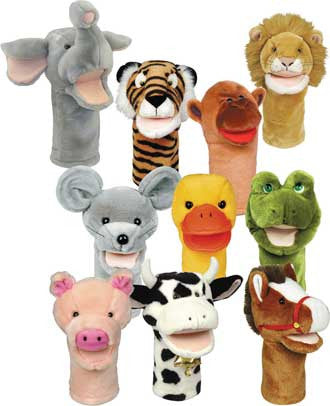 Get Ready Kids PlushPups Set of 10 Moving-Mouth Bigmouth Animal Puppets