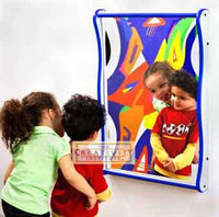 Gressco Large Giggle Mirror - Blue on Speckletone - The Creativity Institute