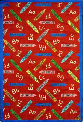 "Joy Carpets Crayons 5'4"" X 7'8"" Area Rug - Red"