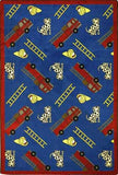 "Joy Carpets Hook and Ladder 3'10"" x 5'4"" Area Rug - Blue - The Creativity Institute"