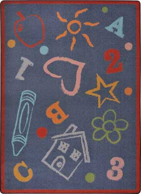 "Joy Carpets 1736D Kid's Art 7'8"" x 10'9"" Area Rug - Chalk"