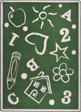 "Joy Carpets 1736D Kid's Art 7'8"" x 10'9"" Area Rug - Green"