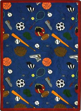 "Joy Carpets 1417D Multi-Sport 7'8"" x 10'9"" Area Rug - Blue"