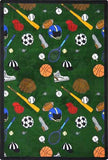"Joy Carpets 1417C Multi-Sport 5'4"" X 7'8"" Area Rug - Green"