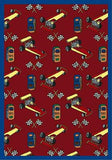 "Joy Carpets 1416B Pit Stop 3'10"" x 5'4"" Area Rug - Red"