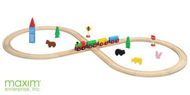 Maxim 32-Piece Figure 8 Wooden Train Set - 50052